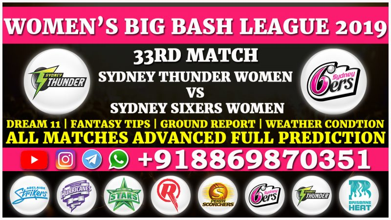 Sydney Thunder Women vs Sydney Sixers Women